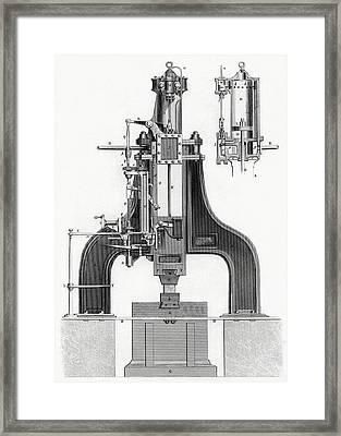 James Nasmyth S Patent Steam Hammer Framed Print by Vintage Design Pics
