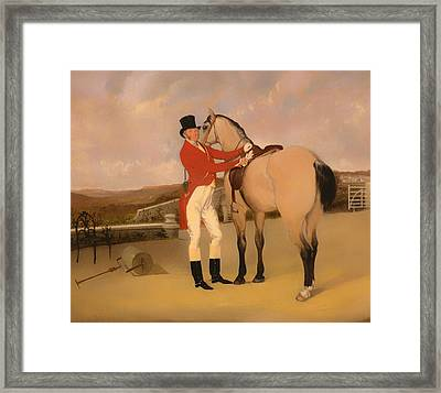 James Taylor Wray Of The Bedale Hunt With His Dun Hunter Framed Print by Mountain Dreams