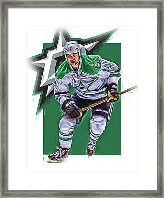 Jamie Benn Dallas Stars Oil Art Series 2 Framed Print
