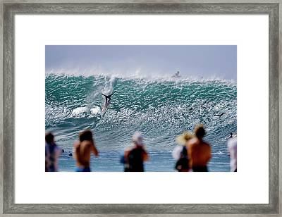 Pro Surfer Jamie Sterling Surfing At Pipeline Under Epic Conditions. Framed Print