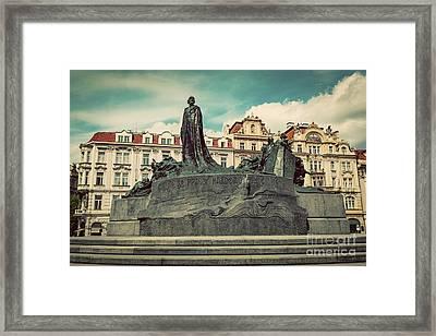 Jan Hus Memorial On The Old Town Square Of Prague, Czech Republic Framed Print by Michal Bednarek