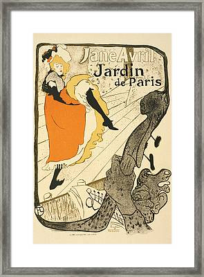 Jane Avril At The Jardin De Paris Vintage Poster Framed Print