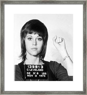 Jane Fonda Mug Shot Vertical Framed Print by Tony Rubino