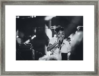 Janelle Monae Playing Live Framed Print by Marco Oliveira