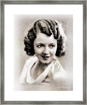 Janet Gaynor, Vintage Actress By John Springfield Framed Print by John Springfield