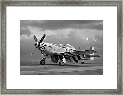 Janie P-51 In Black And White Framed Print by Gill Billington