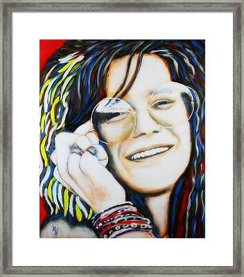 Framed Print featuring the painting Janis Joplin Pop Art Portrait by Bob Baker