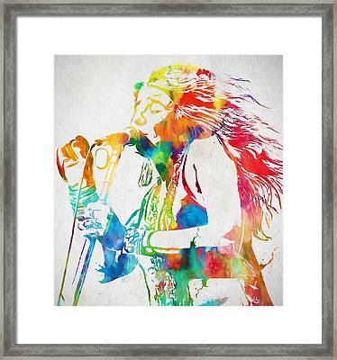 Janis Joplin Singing Framed Print
