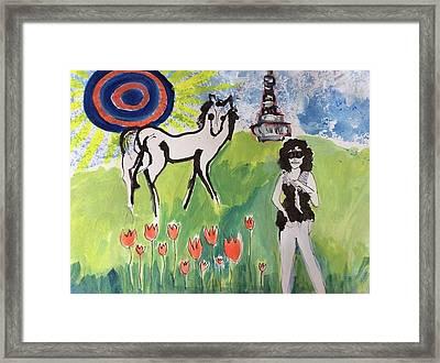 Janis Joplin With A Horse Framed Print by Radka Zimova King