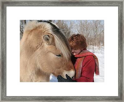 January Fjord And Friend Framed Print by Laurie With