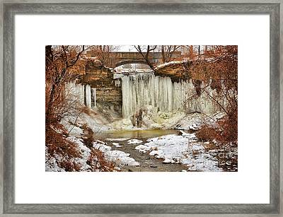 January Melt At Wequiock Falls  Framed Print by Mark David Zahn