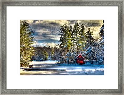 January Snow At The Red Boathouse Framed Print