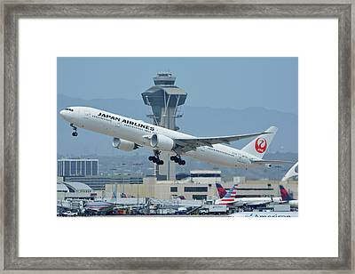 Framed Print featuring the photograph Japan Airlines Boeing 777-346er Ja737j Los Angeles International Airport May 3 2016 by Brian Lockett