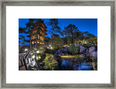 Japan Epcot Pavilion By Night. Framed Print