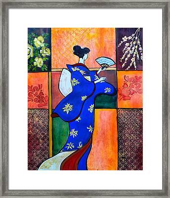 Japan Geisha Kimono Colorful Decorative Painting Ethnic Gift Decor Framed Print