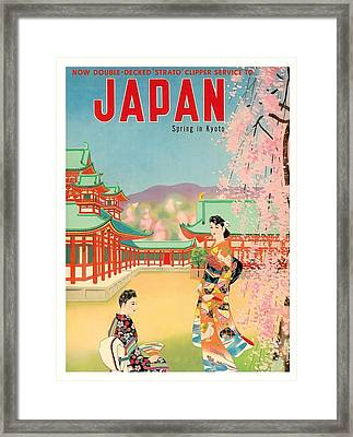 Japan Spring In Kyoto Pan American Vintage Travel Poster Framed Print