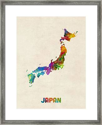 Japan Watercolor Map Framed Print by Michael Tompsett