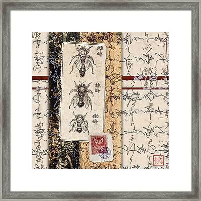 Japanese Bees Framed Print by Carol Leigh