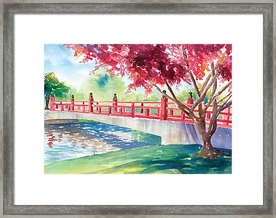 Japanese Bridge Framed Print by Denise Schiber