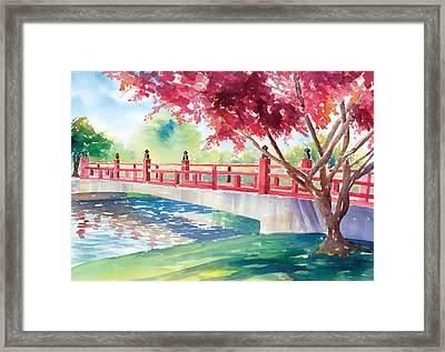 Japanese Bridge Framed Print by Denise Schiber