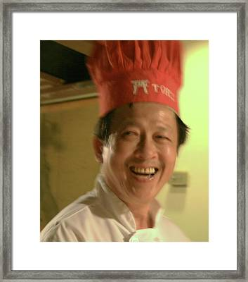 Japanese Chef Framed Print by Joshua Sunday