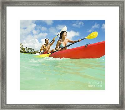 Japanese Couple Kayaking Framed Print by Dana Edmunds - Printscapes