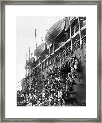 Japanese Fueling A Steamship Framed Print by Underwood Archives
