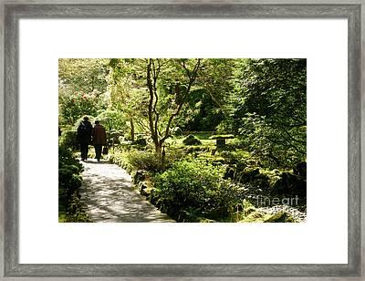 Japanese Garden At Butchart Gardens In Spring Framed Print by Louise Heusinkveld