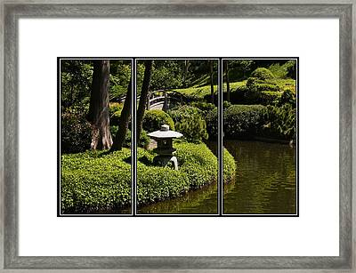 Japanese Garden Triptych Framed Print by Kathy Churchman