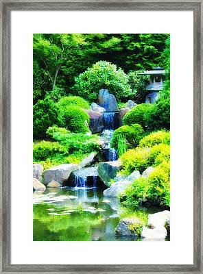 Japanese Garden Waterfall Framed Print by Bill Cannon