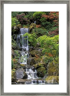 Japanese Garden Waterfall Framed Print by Sandra Bronstein