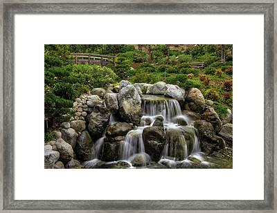 Japanese Garden Waterfalls Framed Print