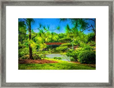 Japanese Gardens  Framed Print by Louis Ferreira
