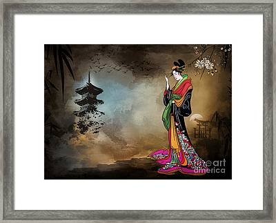 Framed Print featuring the digital art Japanese Girl With A Landscape In The Background. by Andrzej Szczerski