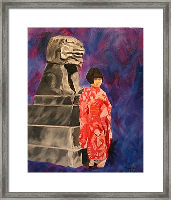 Japanese Girl With Chinese Lion Framed Print by Marilyn Tower