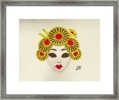 Japanese Mask Framed Print by Donna Wilson