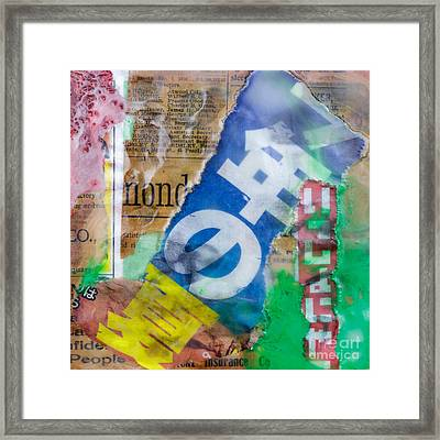 Japanese Newspaper Encaustic Mixed Media Framed Print by Edward Fielding