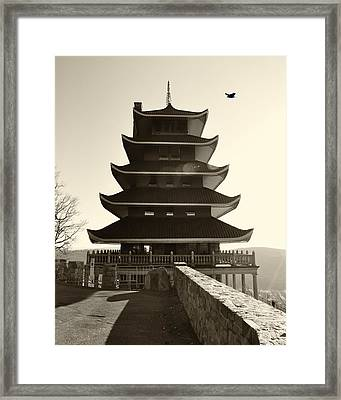 Japanese Pagoda Overlooking Reading Pa Framed Print by Bill Cannon