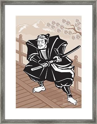 Japanese Samurai Warrior Sword On Bridge Framed Print by Aloysius Patrimonio