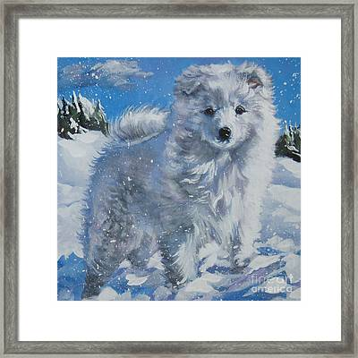 Japanese Spitz Framed Print by Lee Ann Shepard