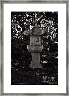 Japanese Stone Lantern In Bw Framed Print