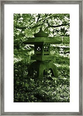 Japanese Stone Lantern In Green Framed Print