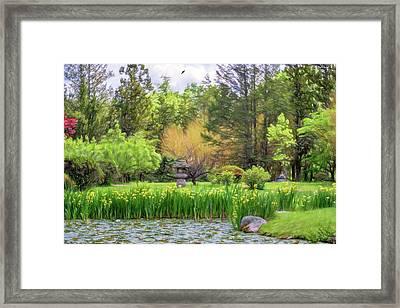 Japanese Stroll Garden Framed Print by June Marie Sobrito