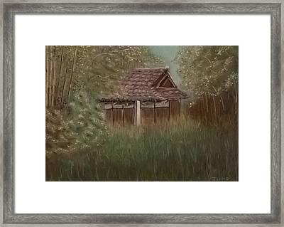 Rustic Japanese Tea House In Sydney Framed Print
