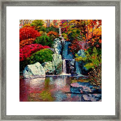 Japanese Waterfall Framed Print by John Lautermilch
