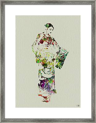Japanese Woman In Kimono Framed Print by Naxart Studio