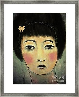 Framed Print featuring the digital art Japanese Woman With Butterflies by Alexis Rotella