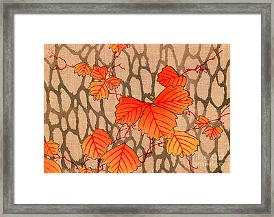 Japanese Woodblock Print Of Autumn Leaves Framed Print by Japanese School