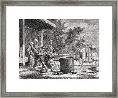 Japanese Workers Using A Rice Mill In Framed Print