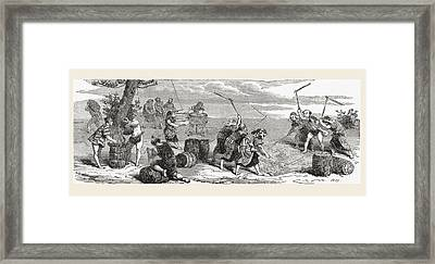 Japanese Workers Using Scythes To Framed Print